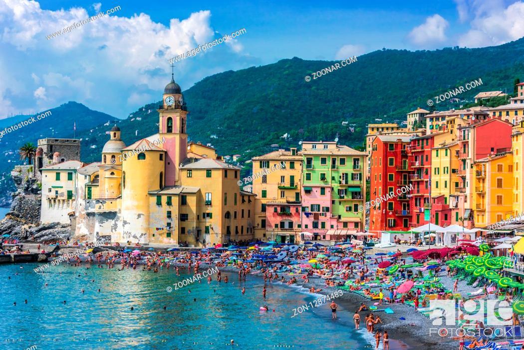 Stock Photo: CAMOGLI, ITALY - SEP 9, 2018: The tourist resort of Camogli on the Italian Riviera in the Metropolitan City of Genoa, Liguria, Italy.