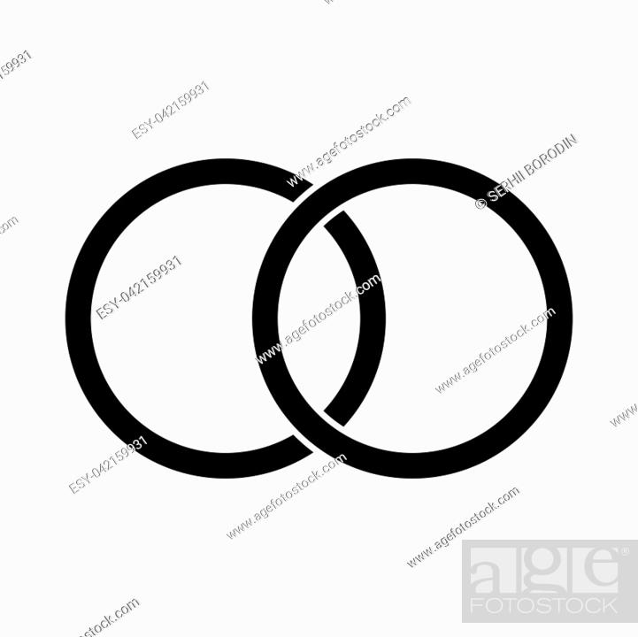 Stock Vector: Wedding rings it is black color icon .