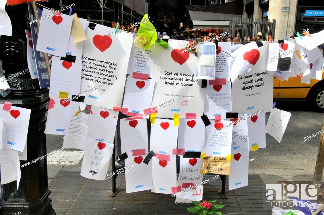 Stock Photo: Tribute to the victims. On the afternoon of 17 August 2017, 22-year-old Younes Abouyaaqoub drove a van into pedestrians on La Rambla in Barcelona, Catalonia.