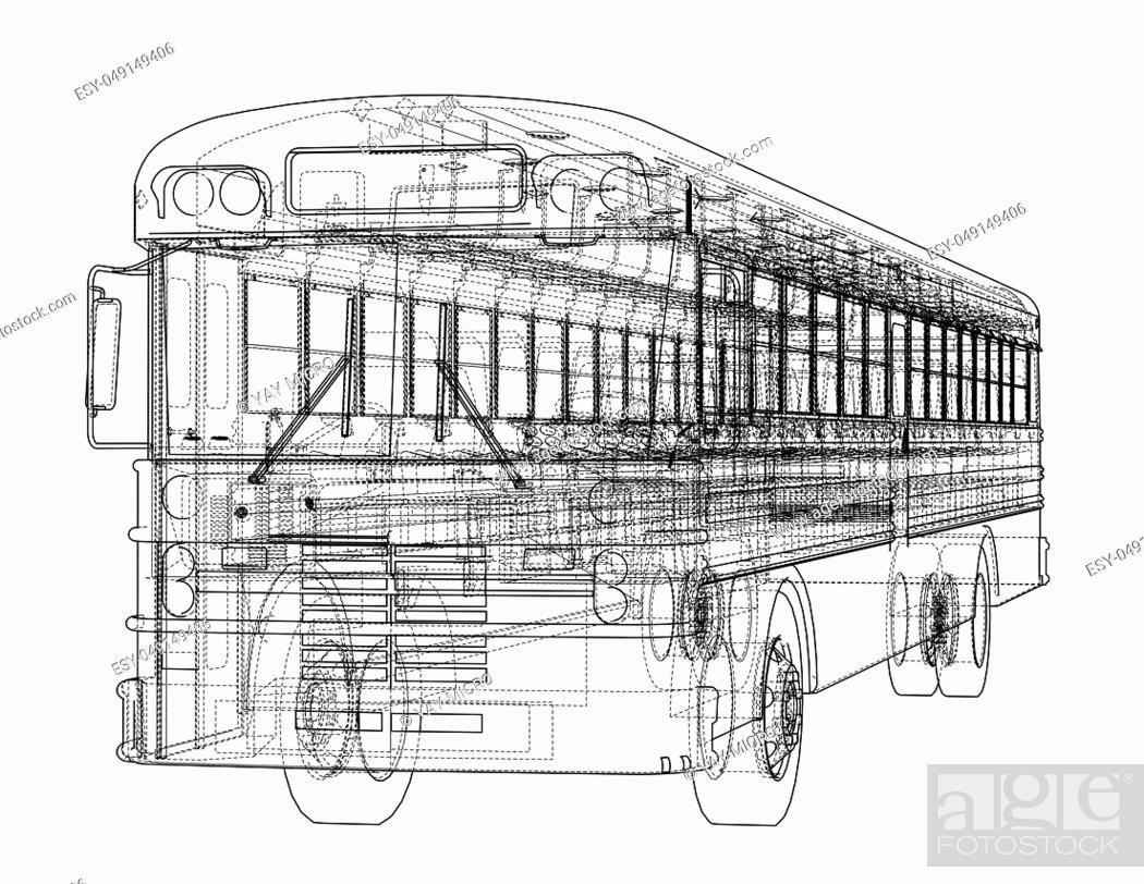 Stock Photo: School bus outline. 3d illustration. Transportation concept.