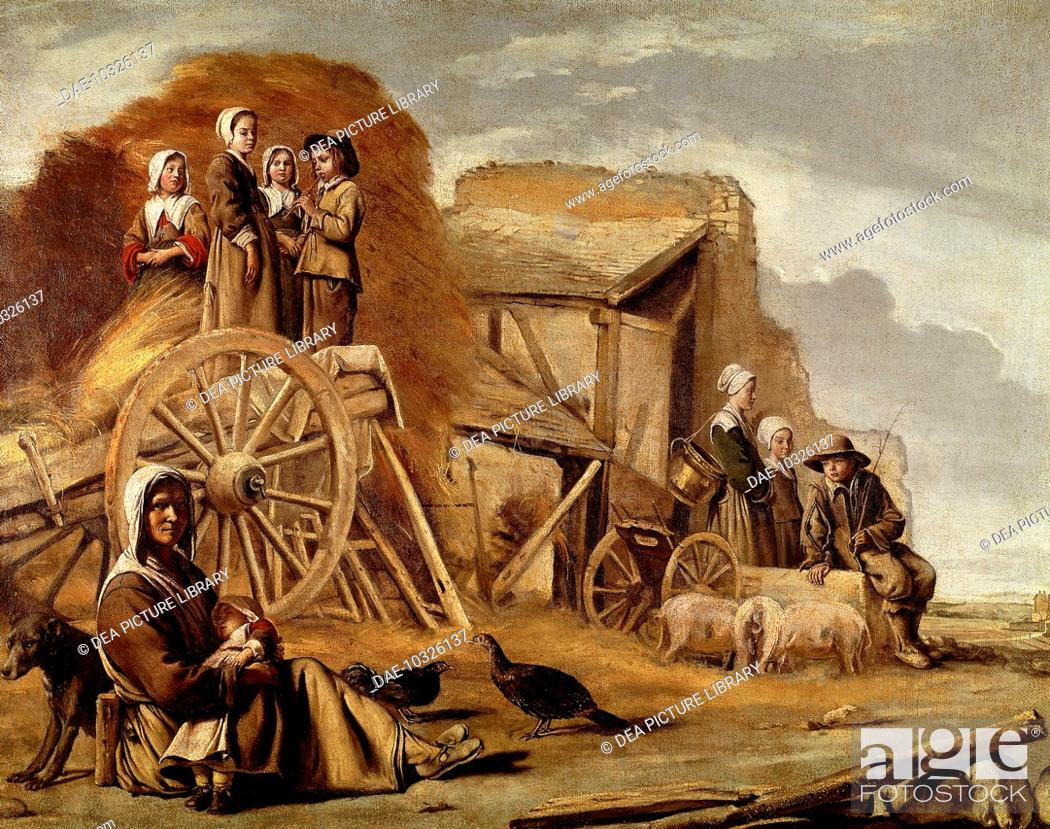 Stock Photo: The Cart or Return from Haymaking, 1641, by Louis Le Nain (1593-1648) or Antoine Le Nain (1599-1648), oil on canvas, 56x72 cm.  Paris, Musée Du Louvre.