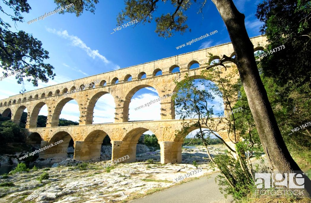 Stock Photo: Pont du Gard, Nimes, Provence, South of France.