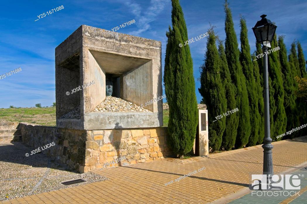 Stock Photo: Monument to Antonio Machado at the Promenade of the Walls, Baeza, Jaen-province, Spain,.