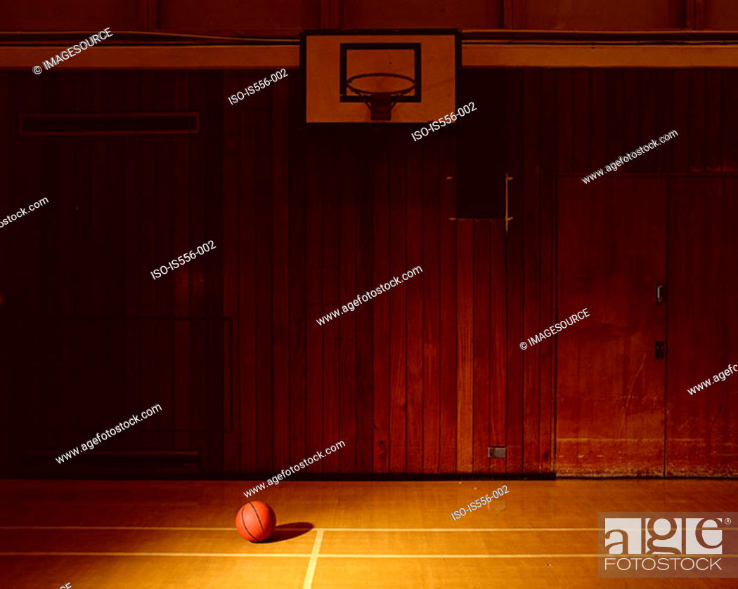 Stock Photo: Empty basketball court.