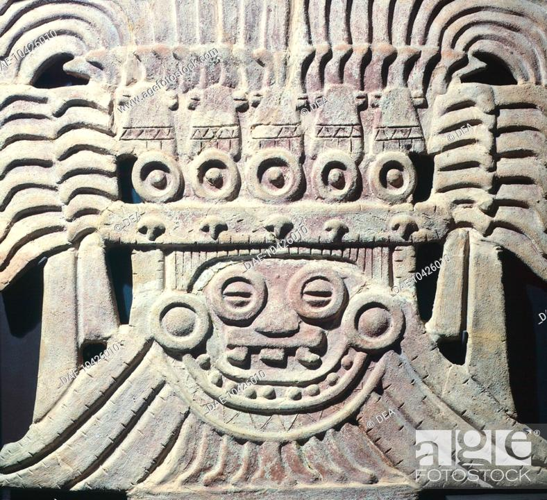 Stock Photo: Clay architectural decoration originating from a Temple dedicated to the god of rain, Tehotiuacan (Mexico). Tehotiuacan Civilization, 3rd-9th Century.