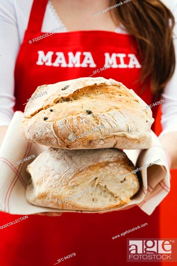 Stock Photo: Two loaves of olive bread.