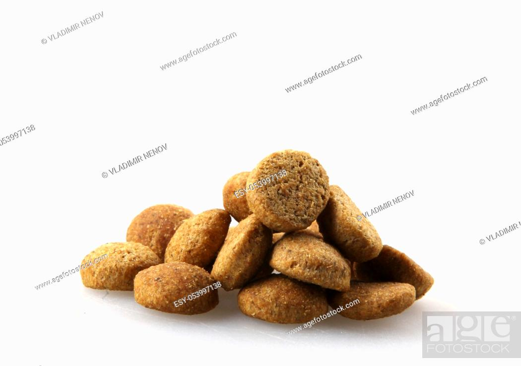 Stock Photo: Dry pet food isolated of white background.
