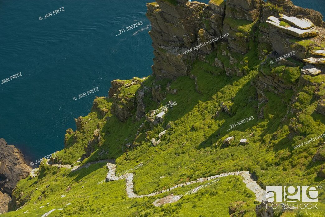 Stock Photo: Small path at Skellig Michael island, Ireland.