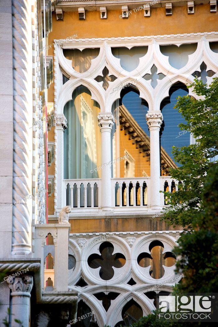 Stock Photo: Typical gothic arches and windows, palace facade, Palazzo Franchetti, Venice, Venetia, Italy.