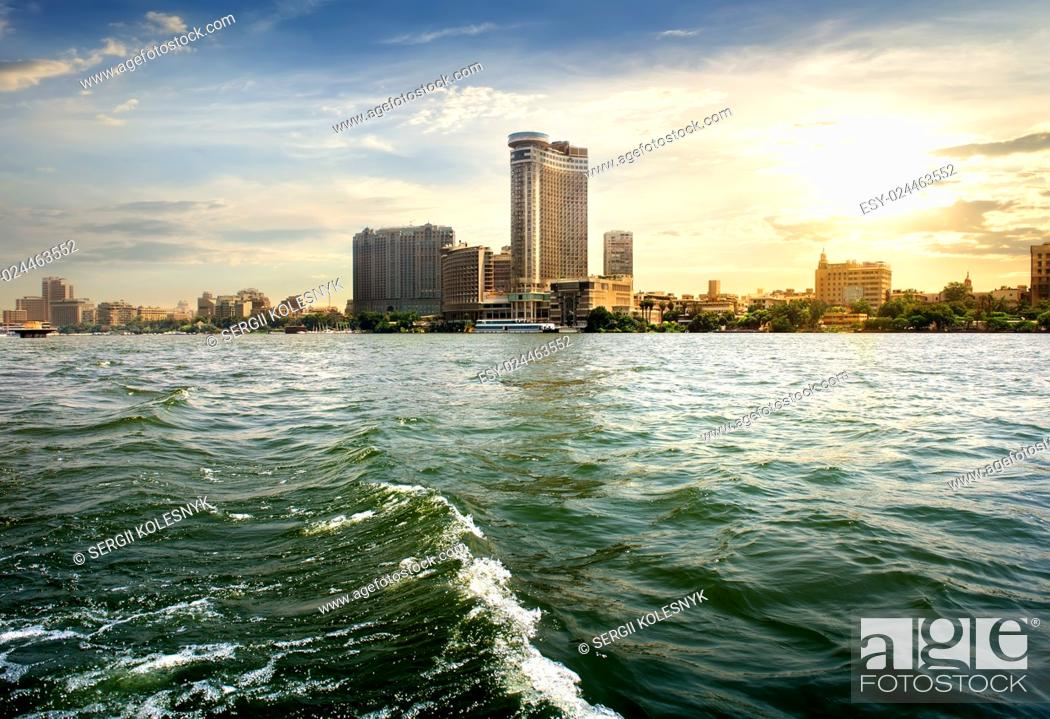 Stock Photo: View on modern Cairo from the Nile.