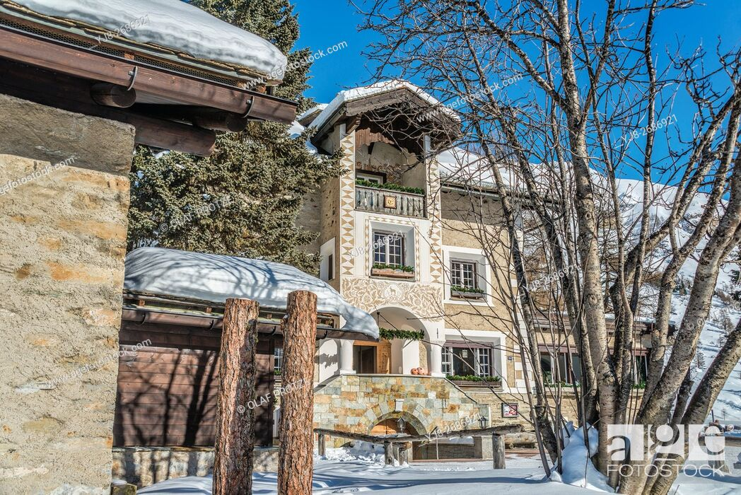 Stock Photo: Hotel Sonne at the Fex Valley in Winter, Engadine, Grisons, Switzerland.