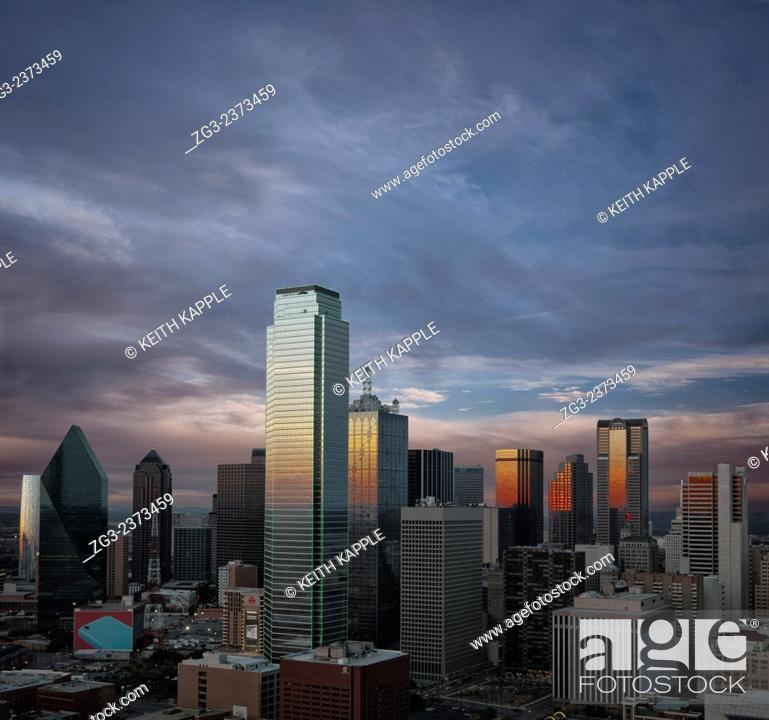 Stock Photo: Dallas Skyline and sunset.