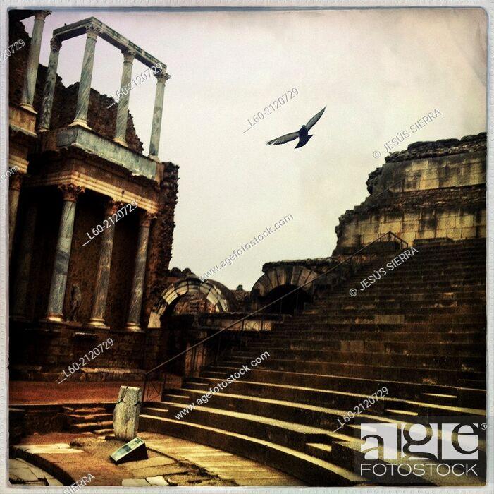 Stock Photo: Roman theatre, Merida, Badajoz province, Extremadura, Spain.