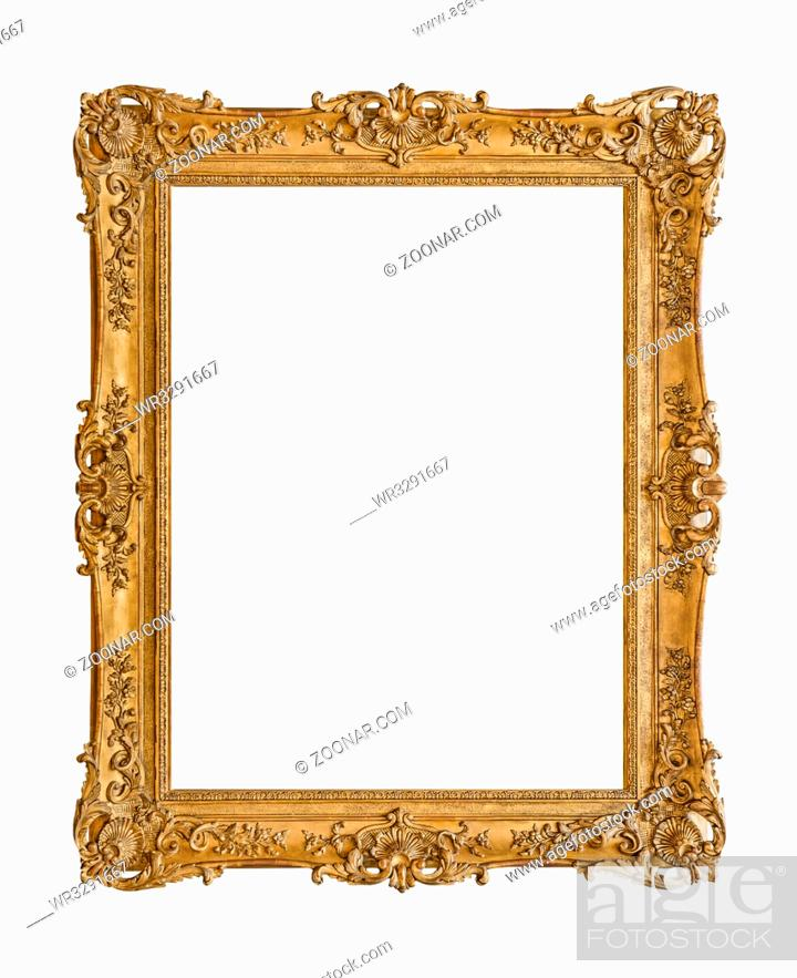 Stock Photo: Old wooden picture frame isolated on white background.
