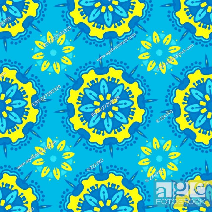 Stock Vector: Hand drawing zentangle color seamless pattern Flower mandala. Vector illustration. Best for your design, textiles, posters, paper, card.