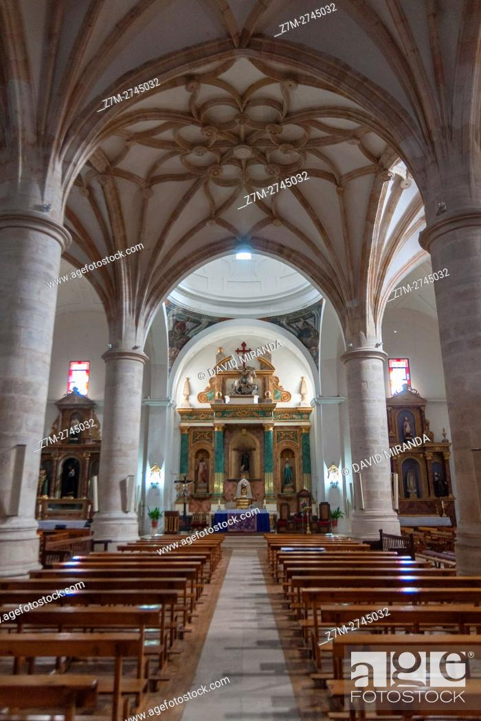 Stock Photo: San Antonio Abad Church, El Toboso, Toledo province, Castile la Mancha, Spain. Route of Don Quijote.