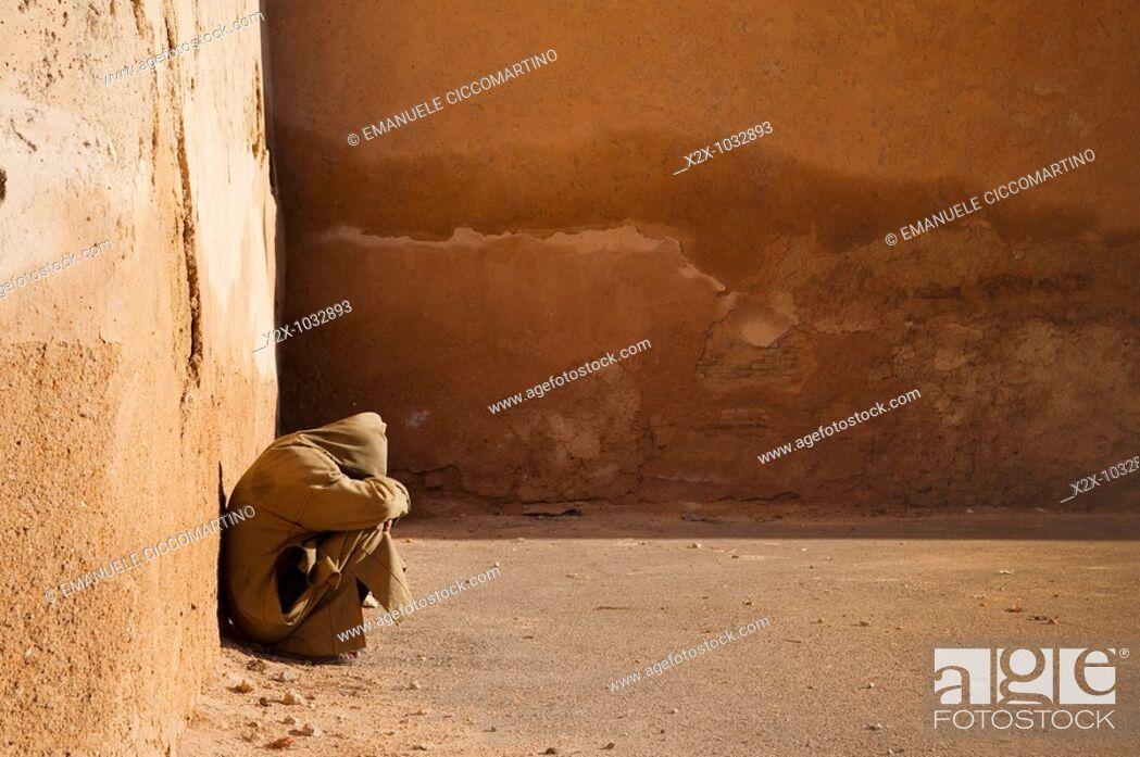 Stock Photo: Man in the medina, Meknes, Morocco.