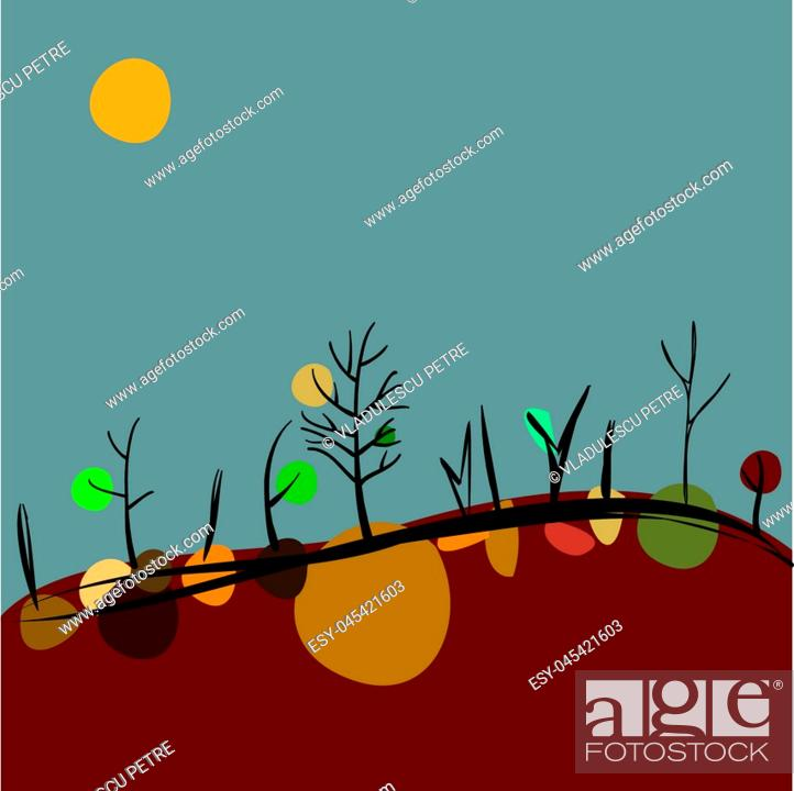 Stock Vector: autumn on hills (trees with crowns on earth).