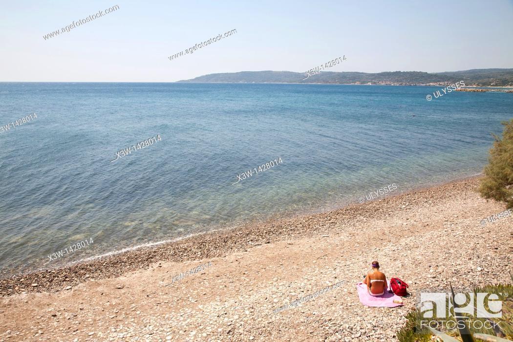 Stock Photo: agia fotia, agia fotini beach, island of chios, north east aegean sea, greece, europe.