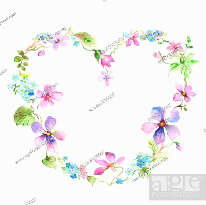 Stock Photo: Flower, Picture frame of heart shape with flowers.