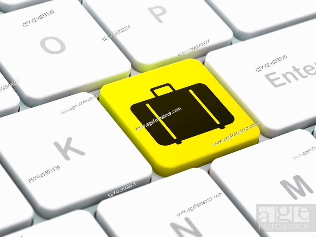Stock Photo: Tourism concept: computer keyboard with Bag icon on enter button background, selected focus, 3d render.
