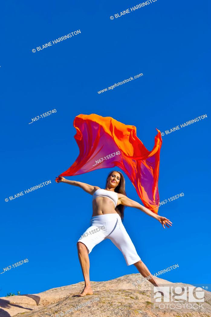 Stock Photo: Woman doing yoga, South Valley Park, Littleton, Colorado USA.