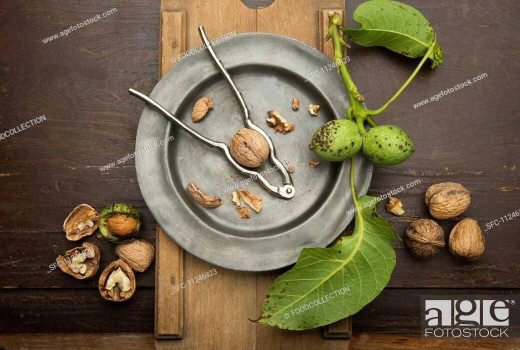 Imagen: Walnuts with leaves and a nutcracker.