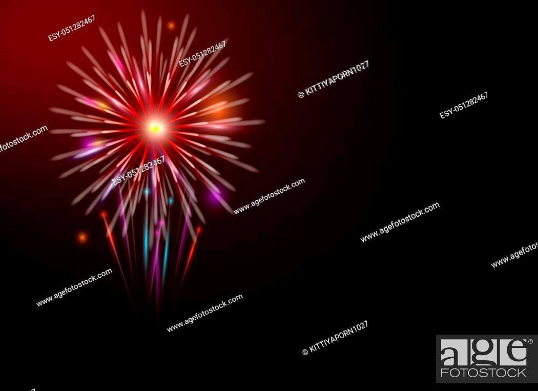 Stock Photo: Colorful fireworks on dark night for holiday and cerebration.
