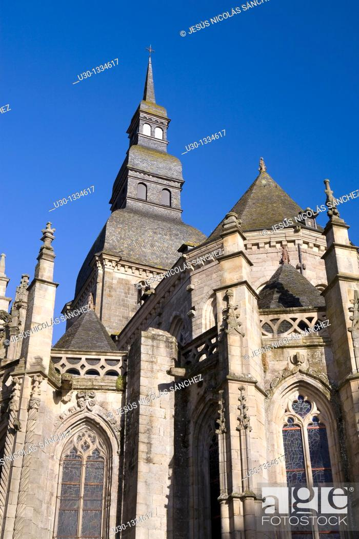Stock Photo: Saint-Sauveur church, in the old town of Dinan, in Cotes d'Armor department, Brittany  France.