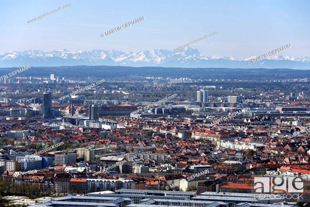 Stock Photo: View of the Alps, Zugspitze, and Neuhausen from Olympia Park TV tower, Munich, Bavaria, Germany, Europe.