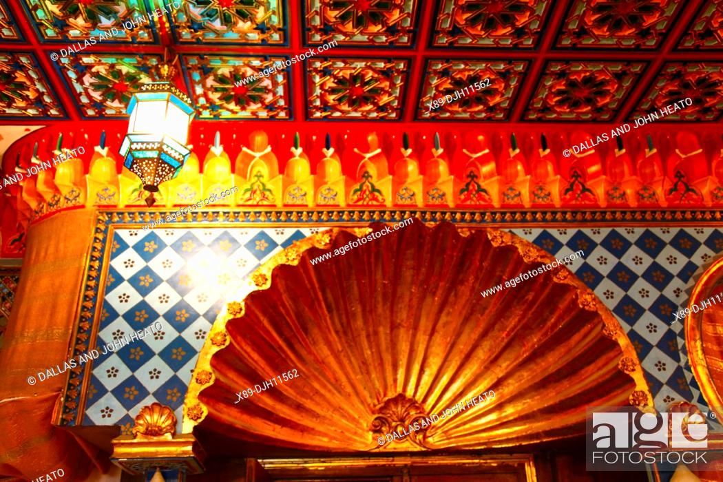 Stock Photo: Africa, Tunisia, Kairouan, Restaurant Errachid, Decorated Ceiling and Walls.