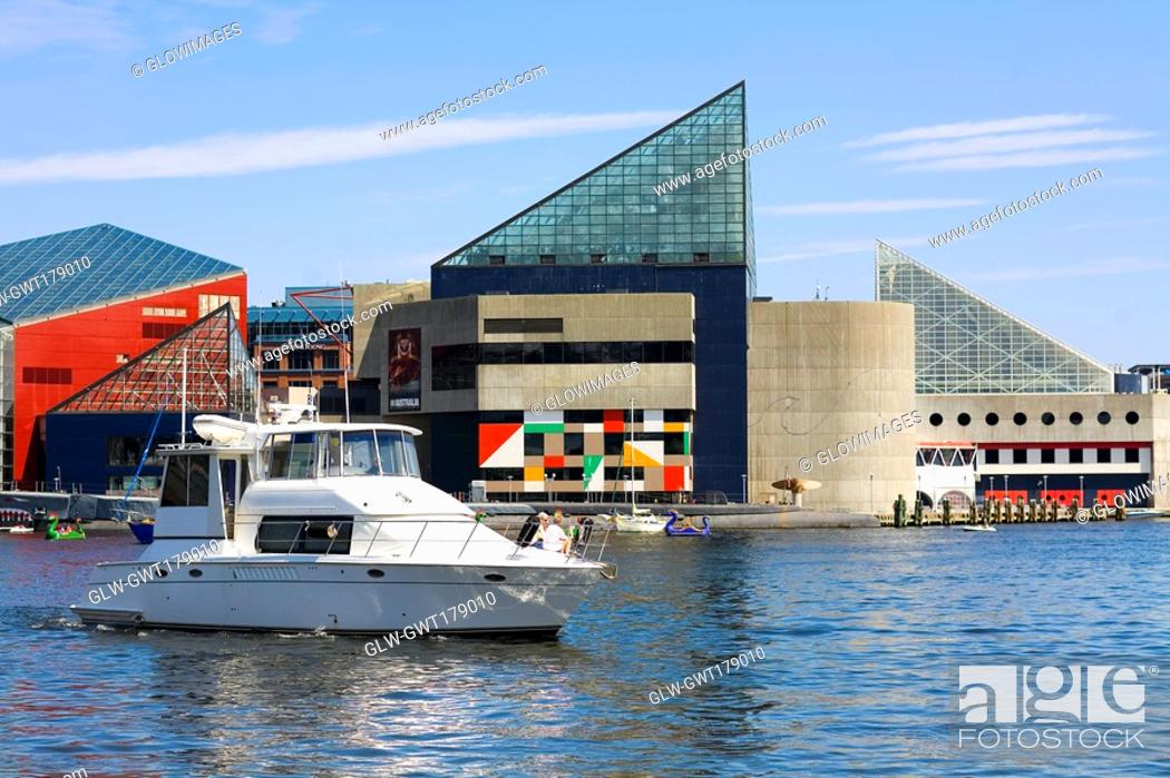 Stock Photo: Motorboat at a harbor, Inner Harbor, Baltimore, Maryland, USA.