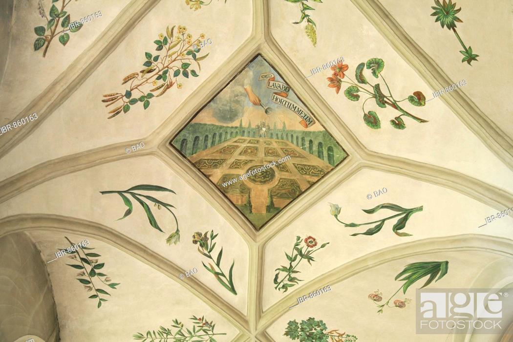 Stock Photo: Herb Garden fresco on the ceiling of the nave in the St. Michael Monastery, Michelsberg, Bamberg, Upper Franconia, Bavaria, Germany, Europe.