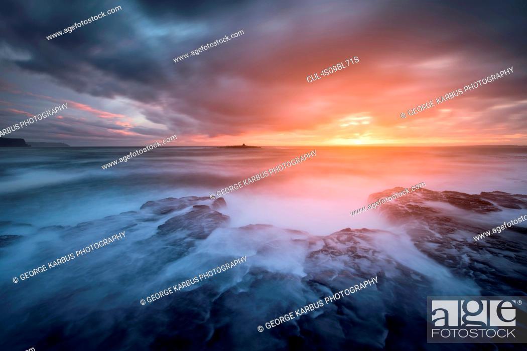 Stock Photo: Stormy winter sunset, Crab Island, Doolin, Clare, Ireland.