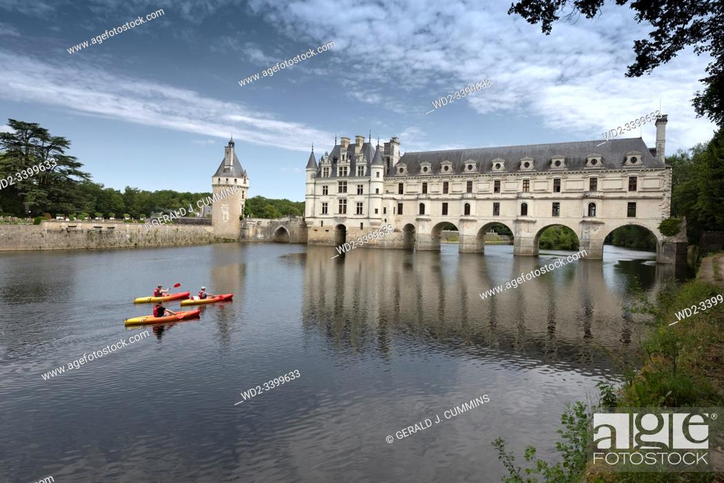 Stock Photo: Europe France Chenonceaux : 2019-07 The castle of Chenonceau is a structure spanning the River Cher, near the small village of Chenonceaux in the Indre-et-Loire.