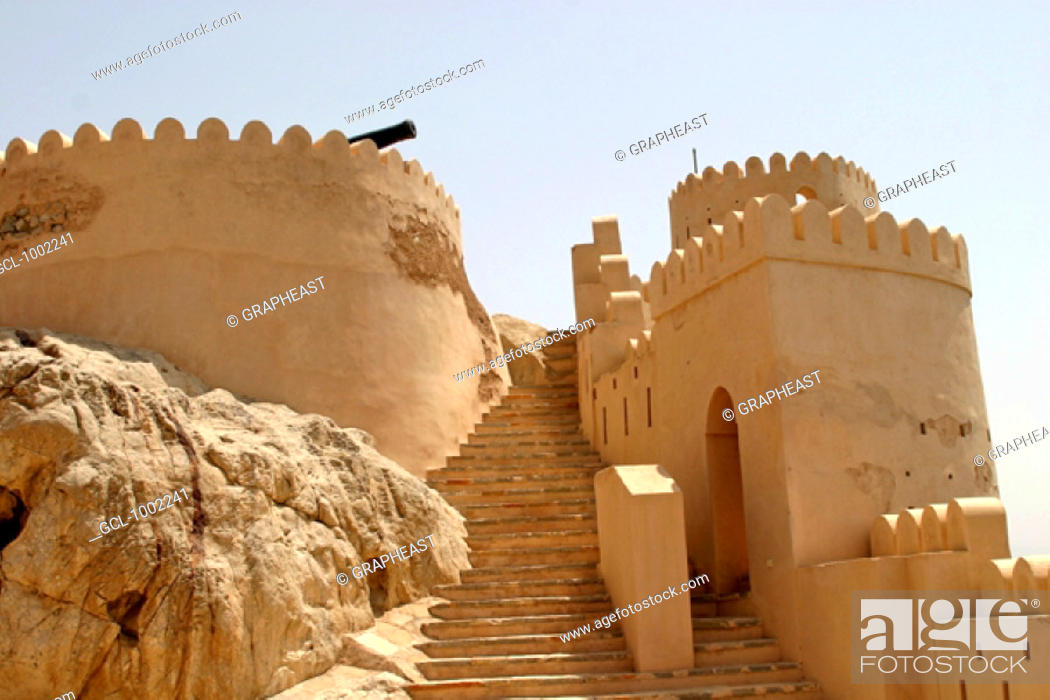 Stock Photo: Stairs up to Nakhal fort, Oman.