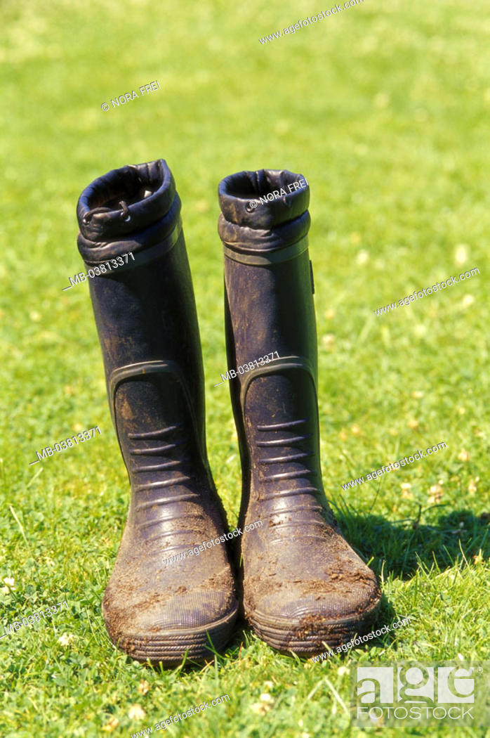 Stock Photo: Meadow, rubber boots, summer,   Leisure time, hobby, gardening, garden, shoes, boots, rubber shoes, rain boots, work boots, dirty, earthy, insensitive.