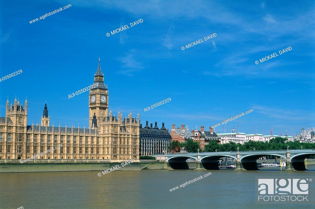 Stock Photo: England - London - Westminster district - River Thames - Big Ben and the Houses of Parliament.