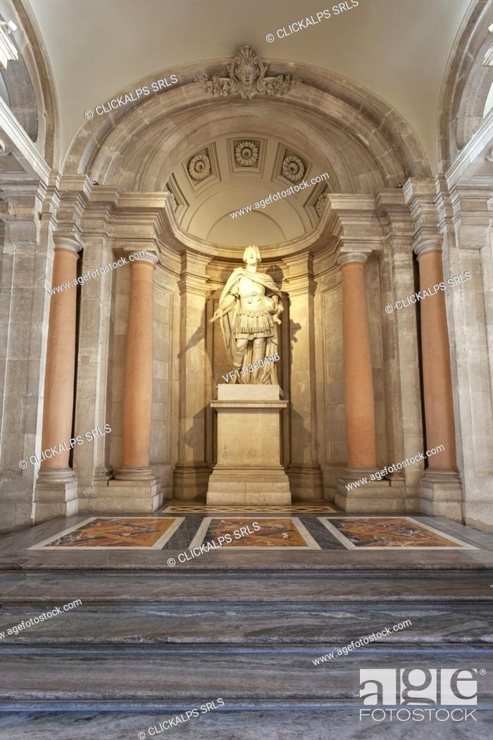 Stock Photo: Sculpture of spanish king Charles III dressed in a Roman Toga at the entrance to the Royal Palace (Palacio Real) of Madrid, Madrid, Spain.
