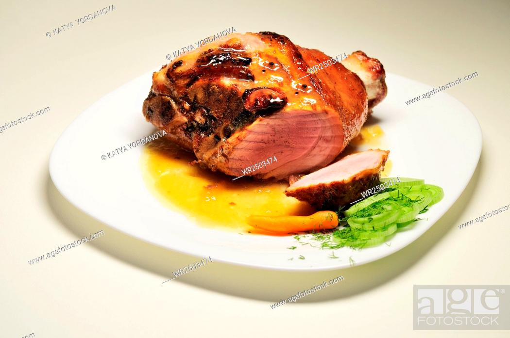 Stock Photo: Close-Up Of Roasted Pork Served In Plate.