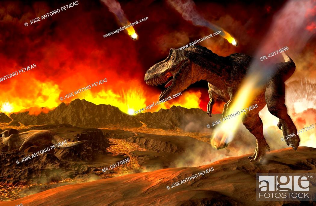 Stock Photo: Extinction of the dinosaurs, artwork. Asteroids impacting around a T rex dinosaur. It is thought that an asteroid that impacted Earth around 65 million years.