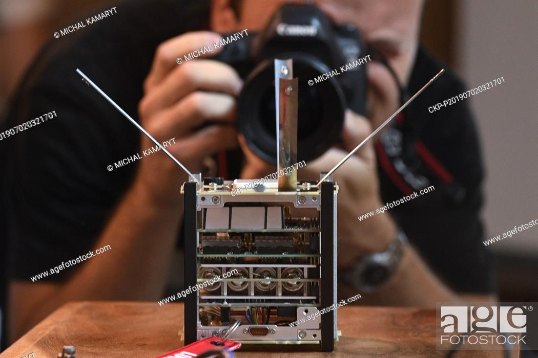 Stock Photo: Experts introduced Czech scientific satellite Lucky-7 in Prague, Czech Republic, on July 2, 2019. The satellite will be part of Soyuz 2-1b rocket.