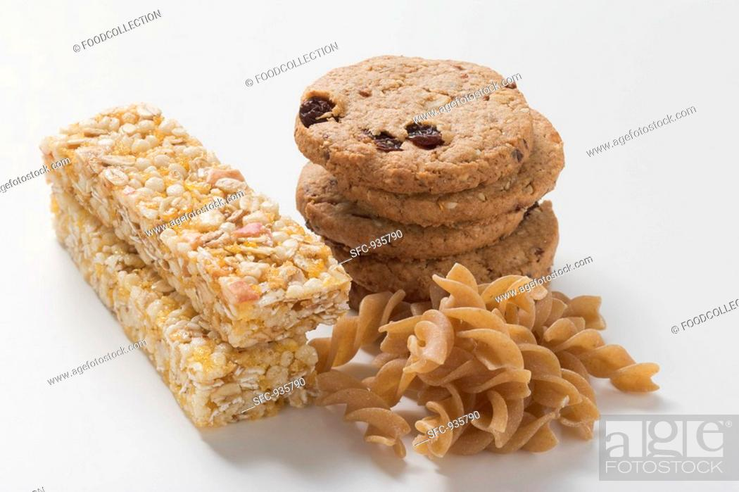 Stock Photo: Wholemeal biscuits, wholemeal pasta and muesli bars.