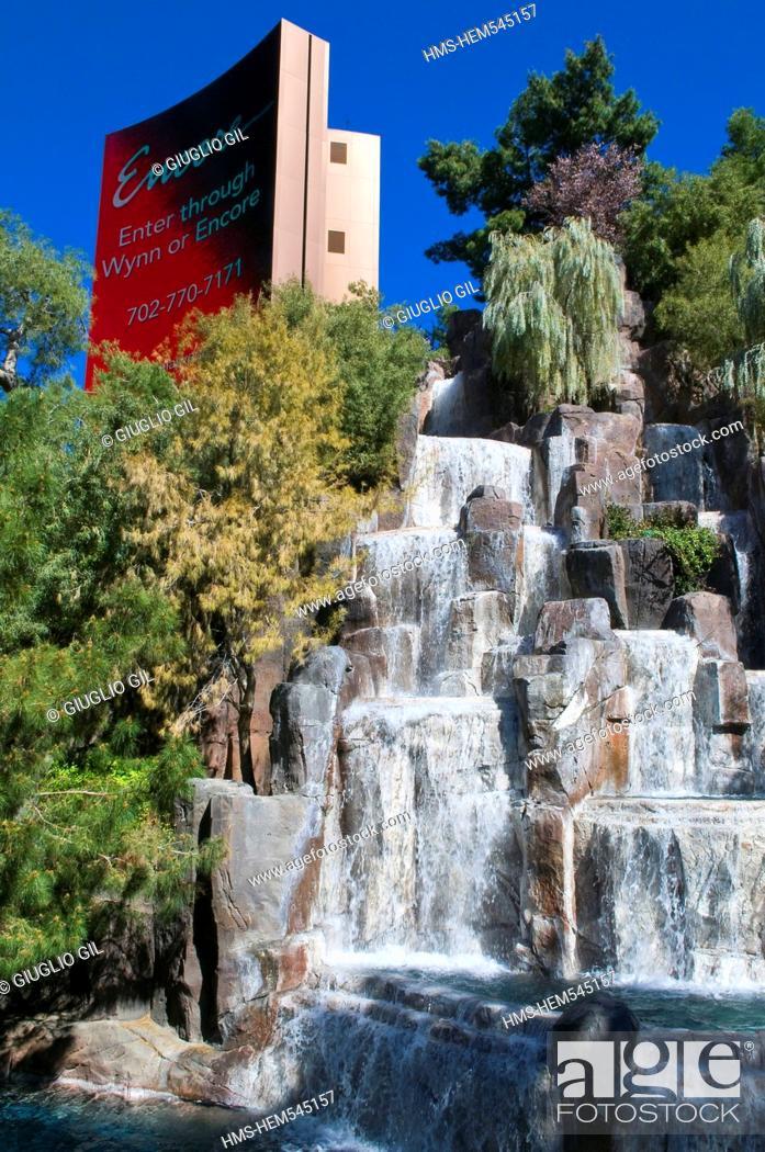 Stock Photo: United Statess, Nevada, Las Vegas, water fall of The Wynn casino resort hotel of MG group.