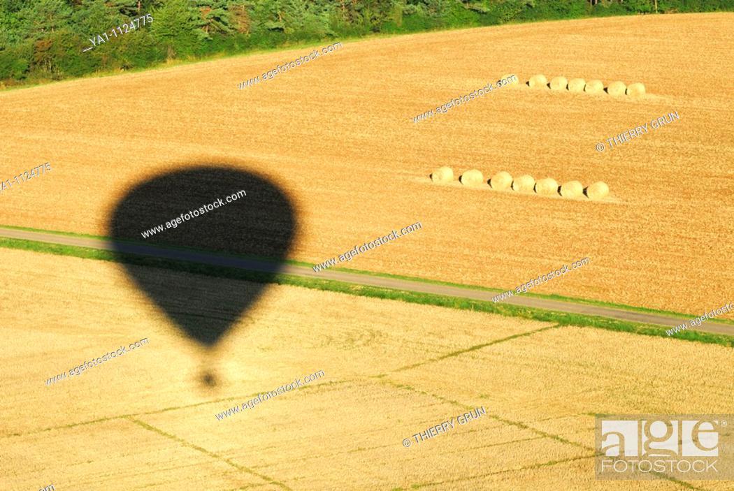 Stock Photo: Hot air balloon shadow over harvesting wheat field. Meuse, Lorraine region, France.