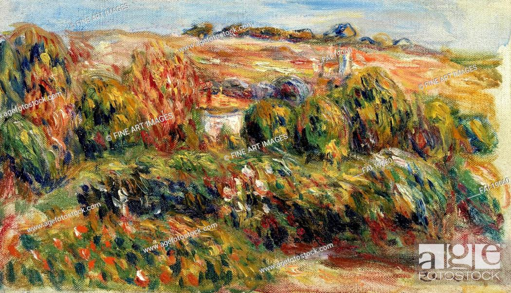 Stock Photo: Landscape in Provence. Renoir, Pierre Auguste (1841-1919). Oil on canvas. Impressionism. c. 1900. Private Collection. 19,3x33,3. Painting.
