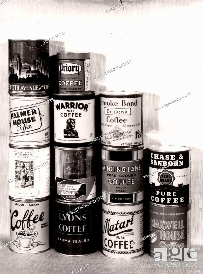 A selection of tins of different brands of coffee, including