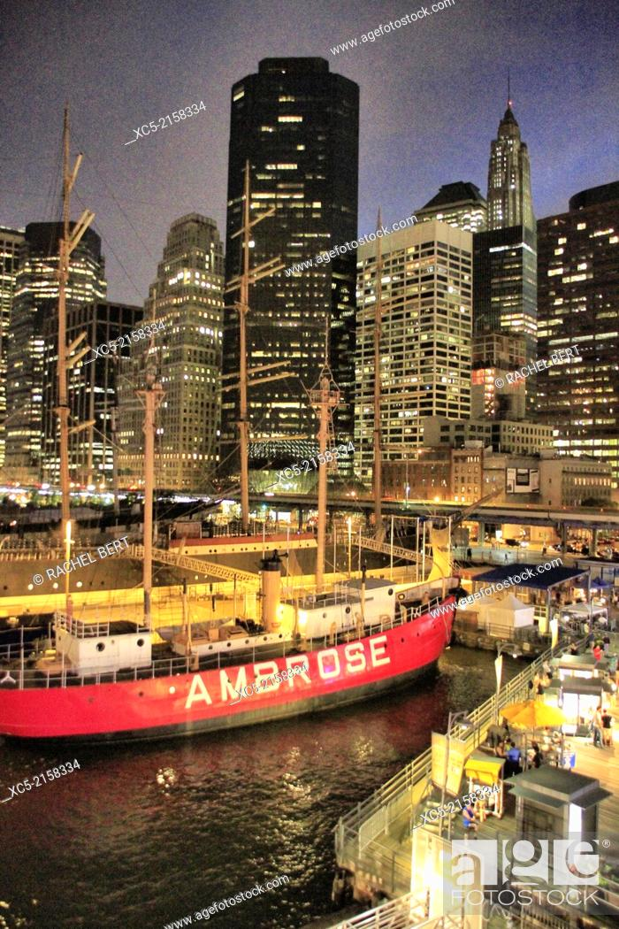 Stock Photo: Lightship Ambrose, South Street Seaport, Lower Manhattan, New York City.