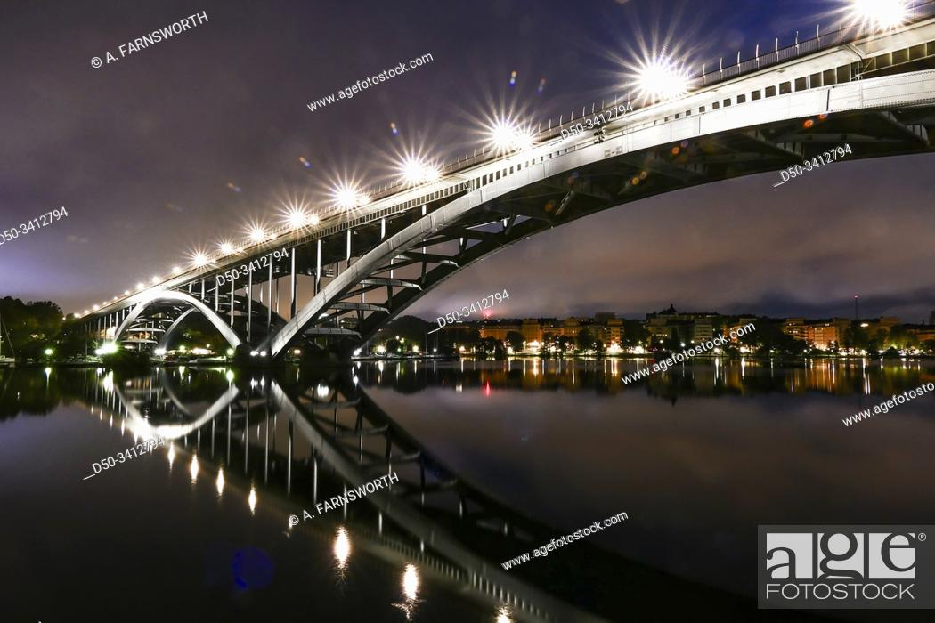 Stock Photo: Stockholm, Sweden The Western Bridge or Vasterbron linking Kungsholmen with Sodermalm and built in 1935.
