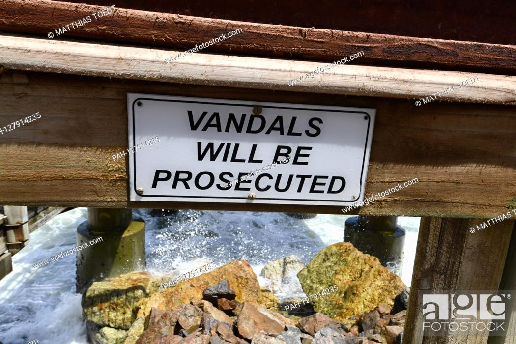 Stock Photo: Warning sign on the Seebruecke in Swakopmund after vandalism was persecuted and punished, taken on 02.03.2019. Photo: Matthias Toedt / dpa-Zentralbild / ZB /.